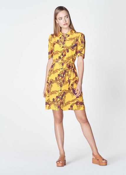 Irenie Yellow Lobster Print Silk Shirt Dress