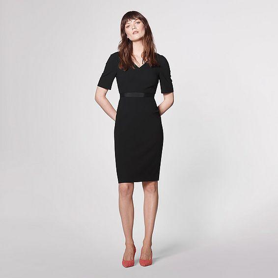 Isla Black Crepe Shift Dress