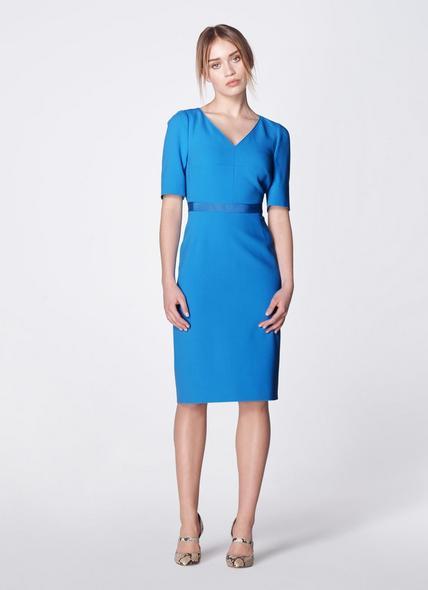 Isla Blue Crepe Shift Dress