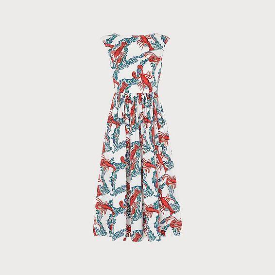 Issie Lobster Print Cotton Sun Dress