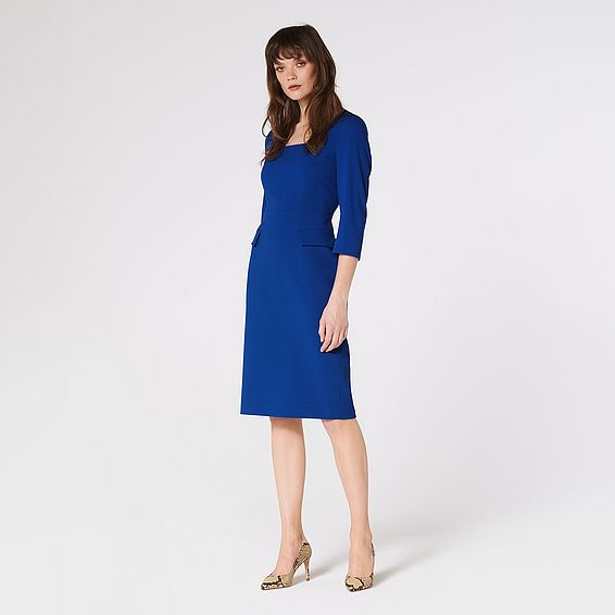 Ivor Blue Crepe Shift Dress