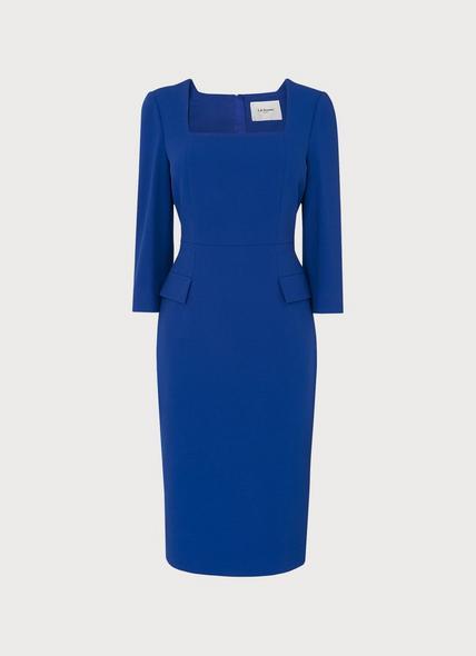 Ivor Blue Crepe Shift Dress