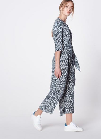 Joni Block Print Silk Jumpsuit