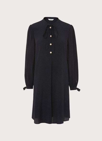 Klee Navy Polka Dot Tunic Dress
