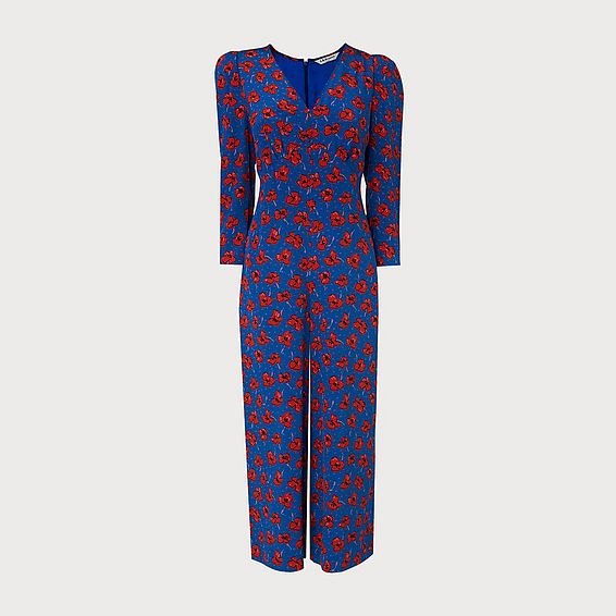 Lilou Poppy Print Silk Jumpsuit