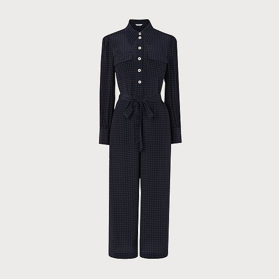 Lois Polka Dot Silk Jumpsuit