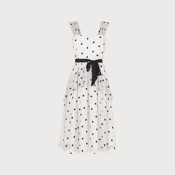 Lottie Monochrome Spot Print Tiered Dress
