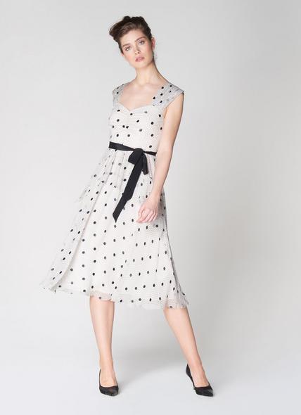 Lottie Monochrome Spot Print Tiered Dress