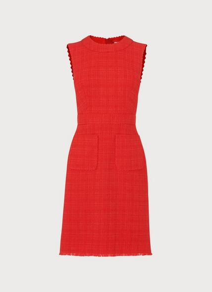 Lucca Red Tweed Scallop Trim Dress