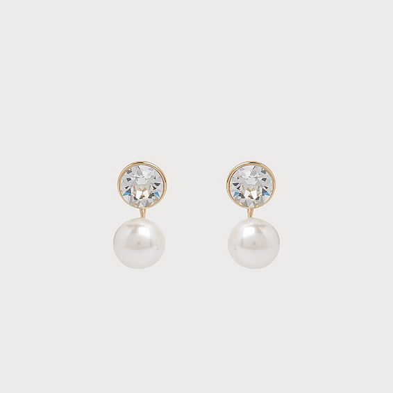 Madrid Swarovski Crystal Grey Pearl Earrings