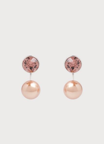 Madrid Swarovski Crystal Pink Pearl Earrings