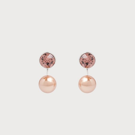 Madrid Swarovski Crystal Pink Pearl Earrings