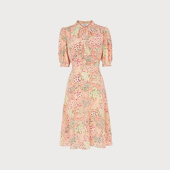 Marceau Impressionist Floral Print Silk Dress
