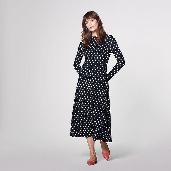 Maria Navy Spot Flared Dress