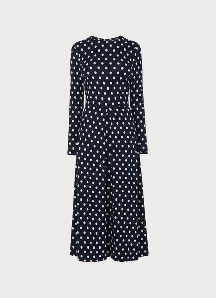 Maria Navy Spot Flared Dress