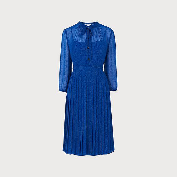 Marlow Blue Polka Dot Pleated Dress