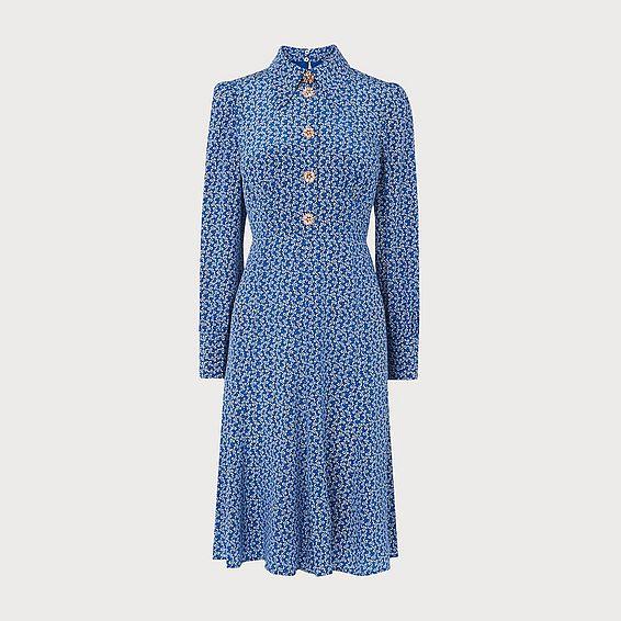 Mathilde Bow Print Silk Dress