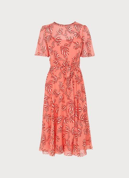 Mimi Pink Bow Print Silk Dress