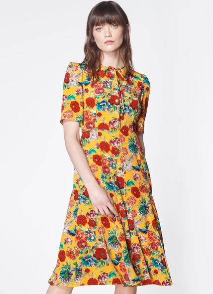 Montana Yellow Silk Tea Dress
