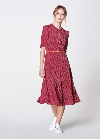Montana Block Print Silk Tea Dress