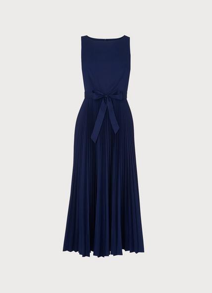 Patti Blue Cotton Pleated Dress