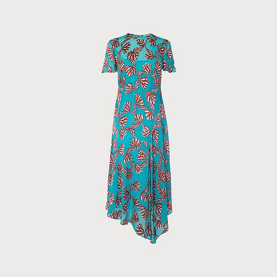 Porter Teal Devoré Bow Midi Dress