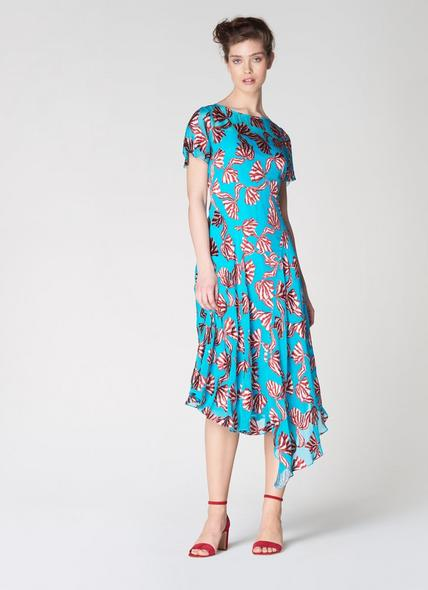 Porter Teal Devoré Bow Midi Dress