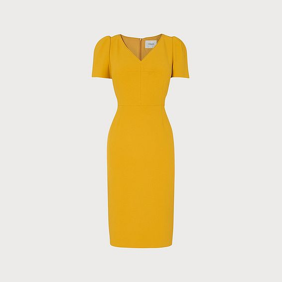 Rebecca Yellow V Neck Crepe Shift Dress