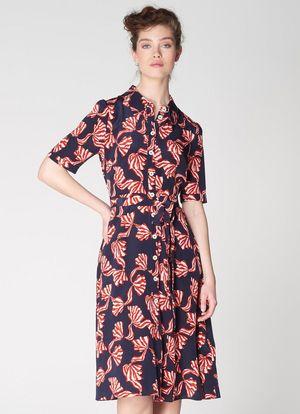 Roo Navy Bow Print Silk Shirt Dress Clothing L K Bennett