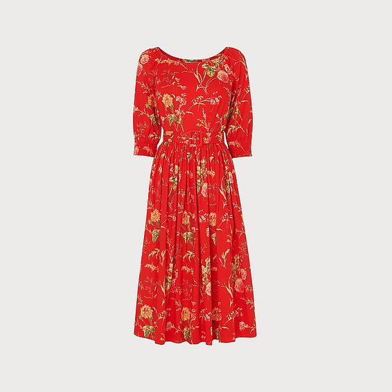 Rosey Red Roseau Print Cotton Dress