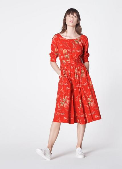Rosey Red Roseau Print Cotton Dress