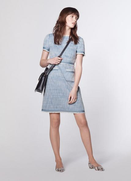 Sidney Blue Tweed Shift Dress