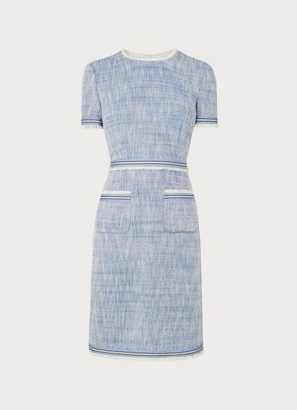 Sidney Blue Tweed Shift Dress