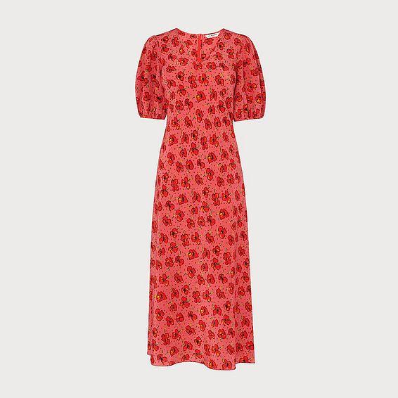 Simpson Poppy Print Silk Tunic Dress