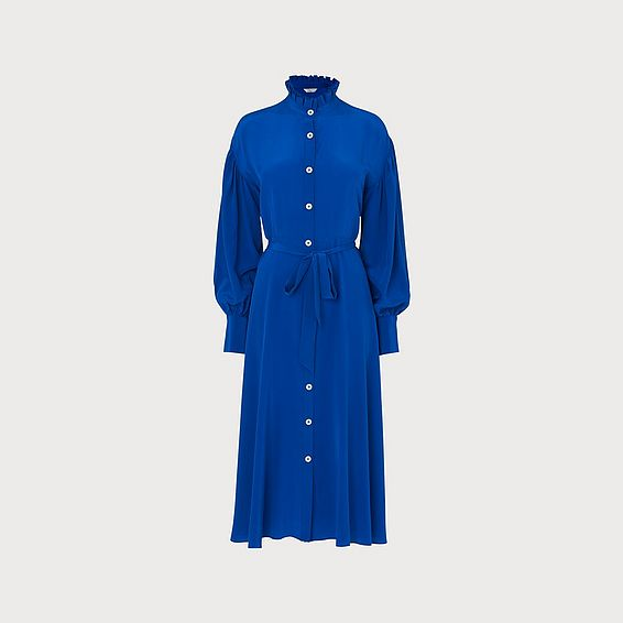 Sukey Blue Silk Pleat Neck Shirt Dress