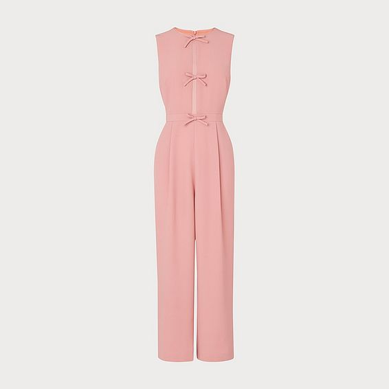 Summer Pink Crepe Bow Detail Jumpsuit