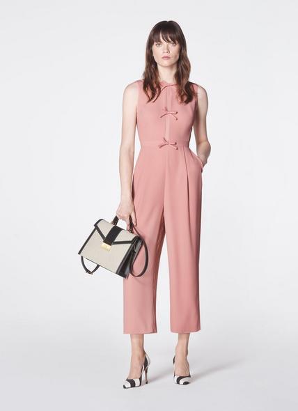 Summer Pink Crepe Bow Detail Jumpsuit