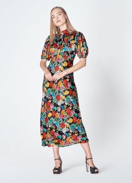 Susie Painted Peony Print Silk Dress
