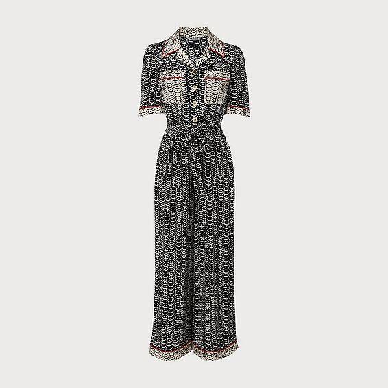 Vivian Navy Crescent Print Silk Jumpsuit