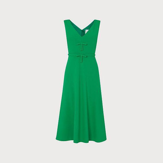 Willow Green Crepe Bow Detail Midi Dress