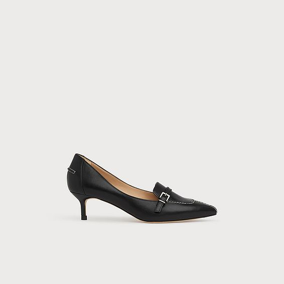 Farah Black Leather Buckle Courts