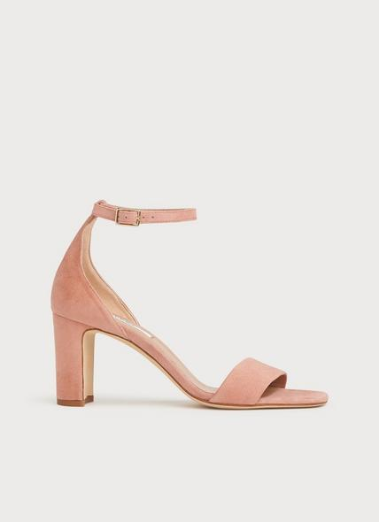 Nissi Pink Suede Block Heel Sandals