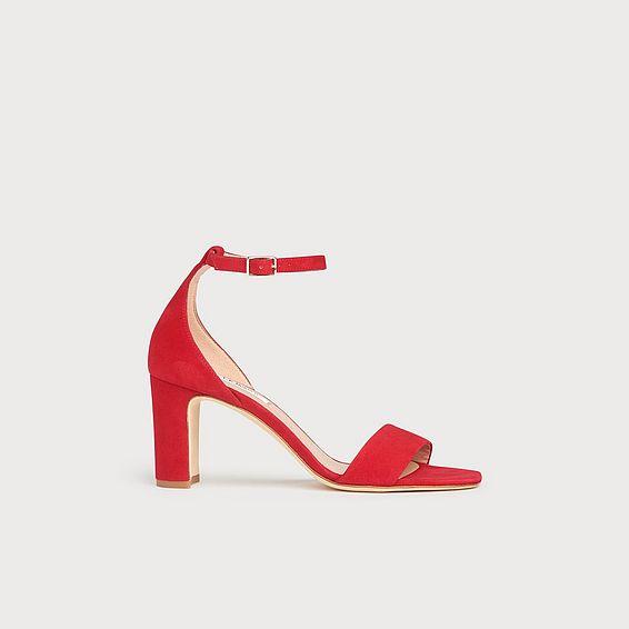 Nissi Red Suede Block Heel Sandals