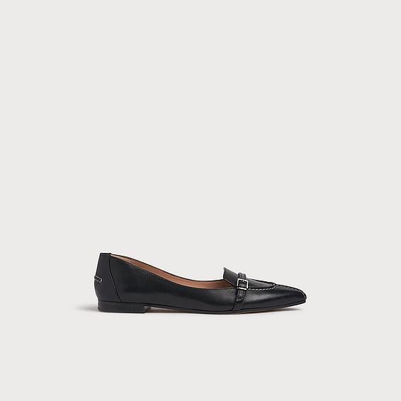 Paris Black Leather Buckle Flats