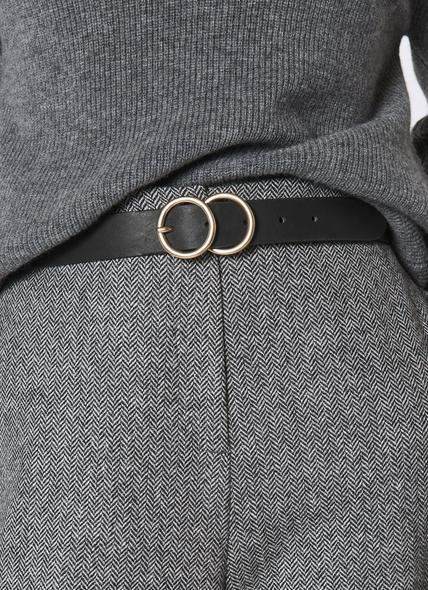 Georgia Black Smooth Leather Belt