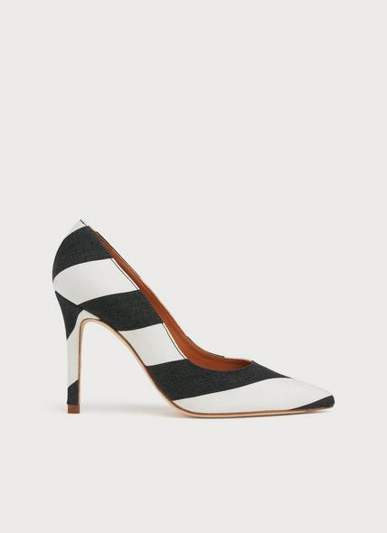 Fern Monochrome Stripe Fabric Pointed Toe Courts