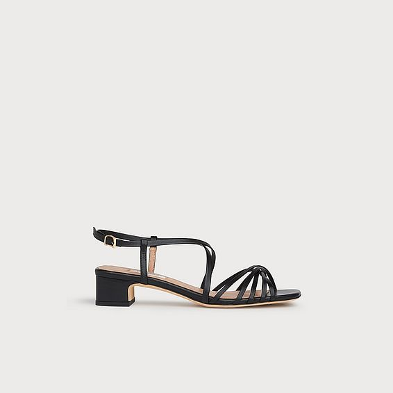 Newport Black Leather Strappy Sandals