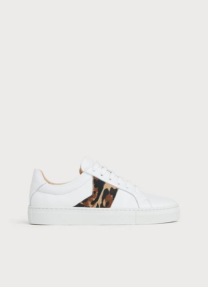 Alivia Natural Leather Lace Up Trainers