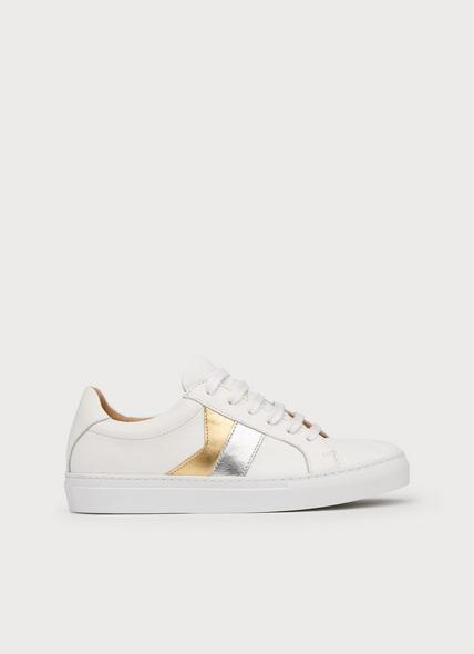 Alivia Silver Gold Leather Lace Up Trainers