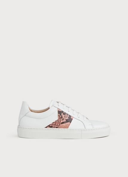 Alivia White Leather & Pink Snake Print Trainers